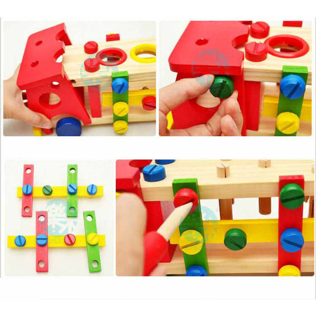 Baby Wooden Toy Tools Kids Tool Car Disassemble Table Games Learning  Educational Knock On The Ball Screw Assembly Garden Game