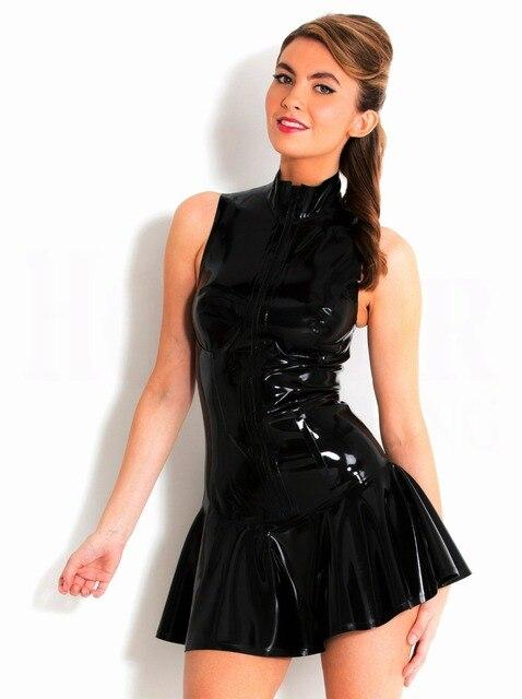 f3b2f22d730 Sexy femmes moulante mini robe latex sans manches bandage costumes faux en  cuir mince costume partie