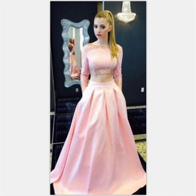 Gorgeous Two Piece Prom Dress 2017 Long Sleeve Beading Backless A ...