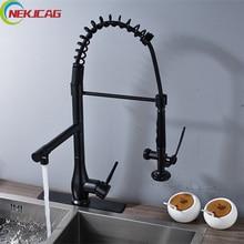 Вращение Весна Кухонная мойка кран Одной ручкой тянуть вниз смеситель для кухни на бортике смеситель с плиты
