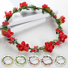 Flower Crown Bride Artificial Plastic Garland Wreath For Hair Floral Headband Accessories