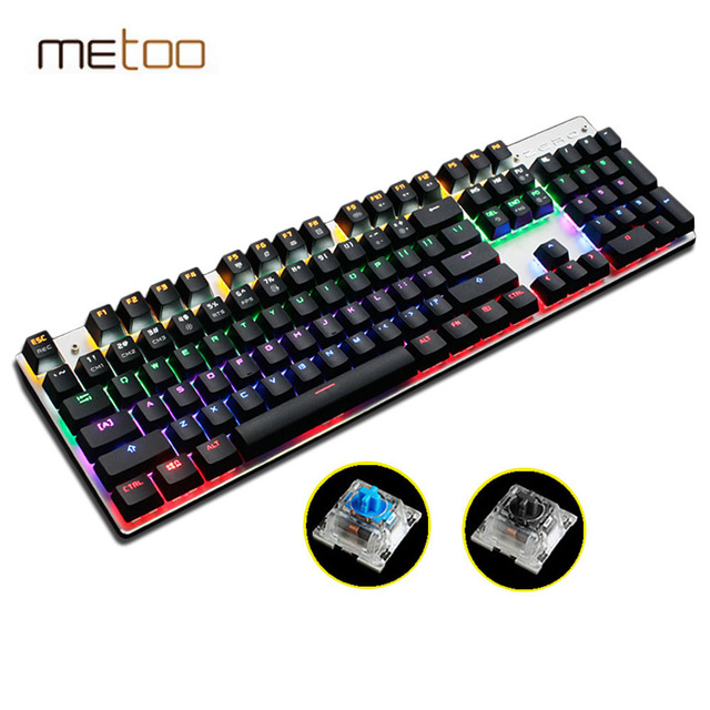 Metoo Teclado Mecánico 87/104 Anti-fantasma Luminoso Azul Negro Interruptor LED Retroiluminado wired Gaming Teclado Ruso pegatinas