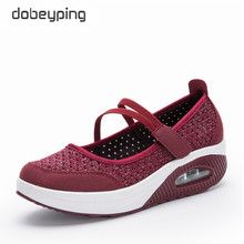 dobeyping New Summer Autumn Women Shoes Breathable Mesh Woman Loafers Casual Flat Platform Ladies Shoe Cut-Outs Mother Sneakers