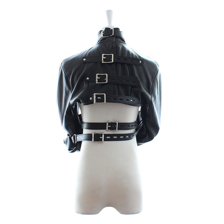BDSM Bondage Fetish Spiked Sadism Suit Breast-less Choker Collar Hollow T-back Panties Bodystock Frog Suit Sex Leather Clothes -