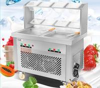 Commercial Fried Ice Cream Maker Stir Yogurt Machine Double-pan Double Control Ice Cream Mixer Ice Cream Roll Maker CB-202FH