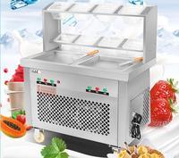 Commercial Fried Ice Cream Maker Stir Yogurt Machine Double pan Double Control Ice Cream Mixer Ice Cream Roll Maker CB 202FH