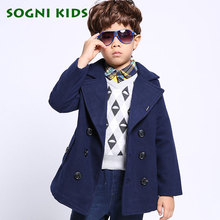 SOGNI KIDS Boys Clothes Turn down Collar Double breasted Jackets Outerwear New Winter Boys Woolen Coats