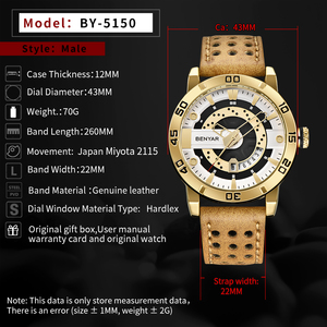 Image 4 - Benyar Heren Horloges Top Brand Luxe Waterdichte Polshorloge Ultra Dunne Datum Quartz Horloge Voor Mannen Sport Klok Erkek Kol saati