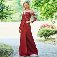 f2a575a490a Tanpell appliques evening dress dark date red full sleeves floor length a line  gown women customed