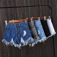 New Arrival Denim Shorts Jeans Women Tassel Hole Summer Sexy Casual Mini Streetwear Ripped