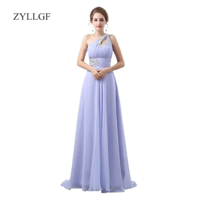 Zyllgf Princess One Shoulder Bridesmaid Long Dresses Pleated Chiffon