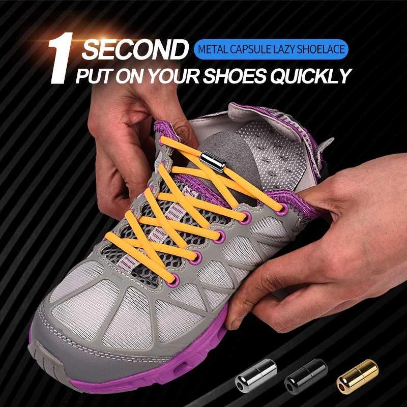 ใหม่วงกลม Shoelaces รองเท้าผ้าใบ No Tie Shoelace Quick Elastic Locking รองเท้า laces เด็กผู้ใหญ่ผู้หญิงผู้ชายรองเท้าลูกไม้สตริง