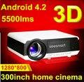 Горячая распродажа родной Full HD из светодиодов Android.2 Wifi проектор с 5500 lumens, Поддержка tft-hdmi + USB + SD + TV