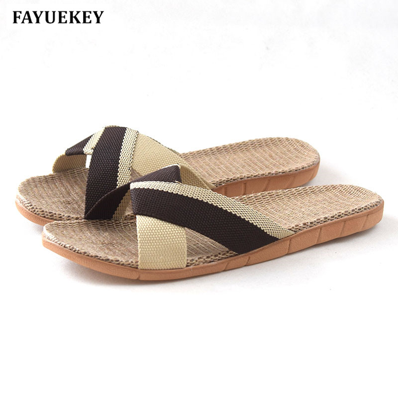 FAYUEKEY 2018 New Summer Fashion Home Linen Breathable Slippers Men Indoor Floor Beach Slides Boys Gift Flat Shoes coolsa new summer linen women slippers fabric eva flat non slip slides linen sandals home slipper lovers casual straw beach shoe
