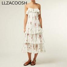 Высокое качество подиумная Летняя женская открытая спина Спагетти ремень торт платье Цветы печати оборками вечерние праздничные миди платье vestid