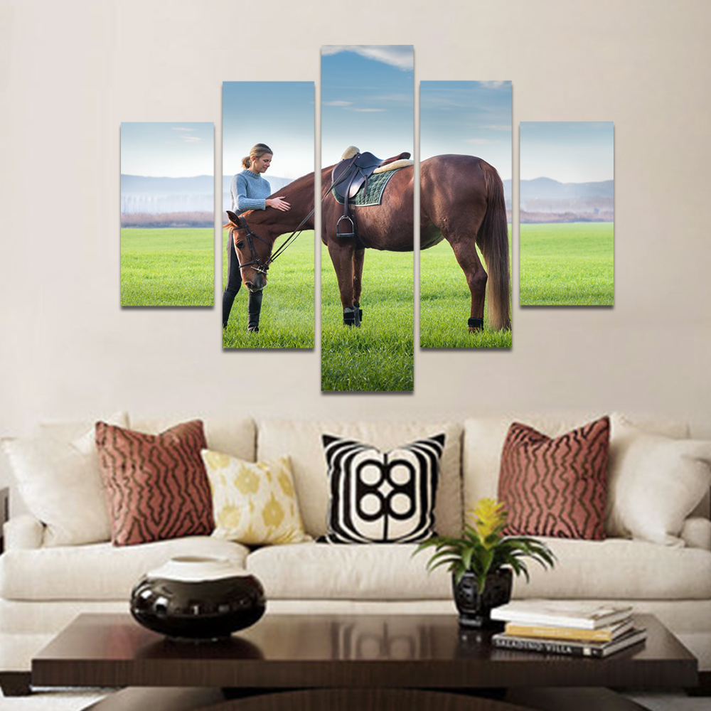 Unframed Canvas Animal Painting Meadow Brown Horse And Woman Pictures Prints Wall Picture For Living Room Wall Art Decoration