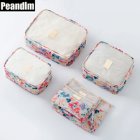 PEANDIM 6pcs Set Waterproof Clothes Packing Bags Household Portable Box Travel Underwear Organizer Cosmetic Makeup Organizer