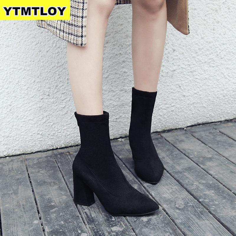 2019 женские ботильоны в римском стиле на высоком квадратном каблуке; модные брендовые дизайнерские женские туфли для вечеринок; женские чер...