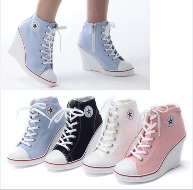 Womens Fashion Sneakers Lace up Canvas Breathable High Top Sport