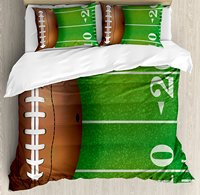 American Football Field And Ball Realistic Vivid Illustration College Decorative 4 Piece Bedding Set Green Brown
