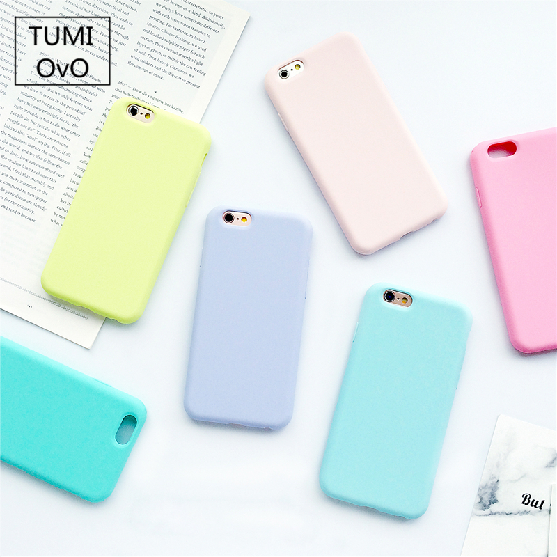 Candy Macarons Color TPU Silicone Frosted Matte Case for iPhone 6 6S 5 5S SE 8 Plus X 10 Soft Back Cover for iPhone 7 7Plus