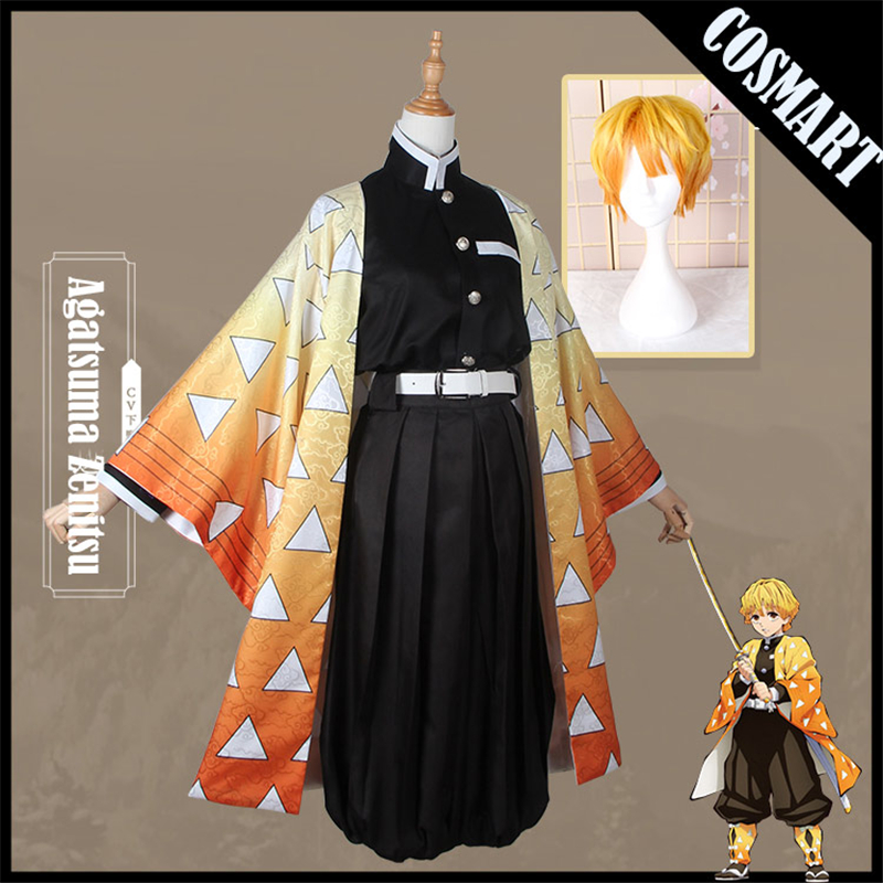 Anime!Demon Slayer Kimetsu No Yaiba Agatsuma Zenitsu Cosplay Costume Kimono Uniform Any Size Halloween Costumes For