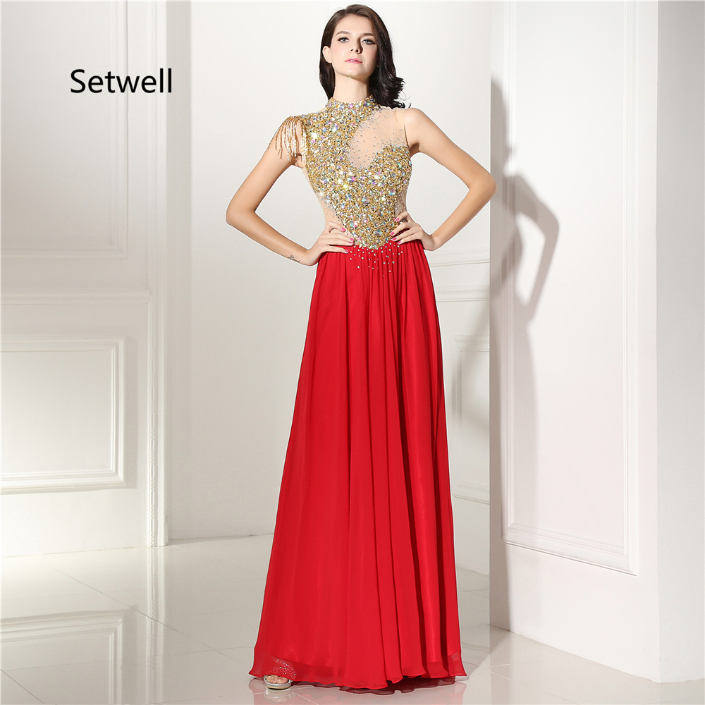 US $169.0 |Setwell Beautiful Red Chiffon Prom Dresses 2017 High Neck  Illusion Backless Prom Dress Gold Sequin Evening Gowns-in Prom Dresses from  ...