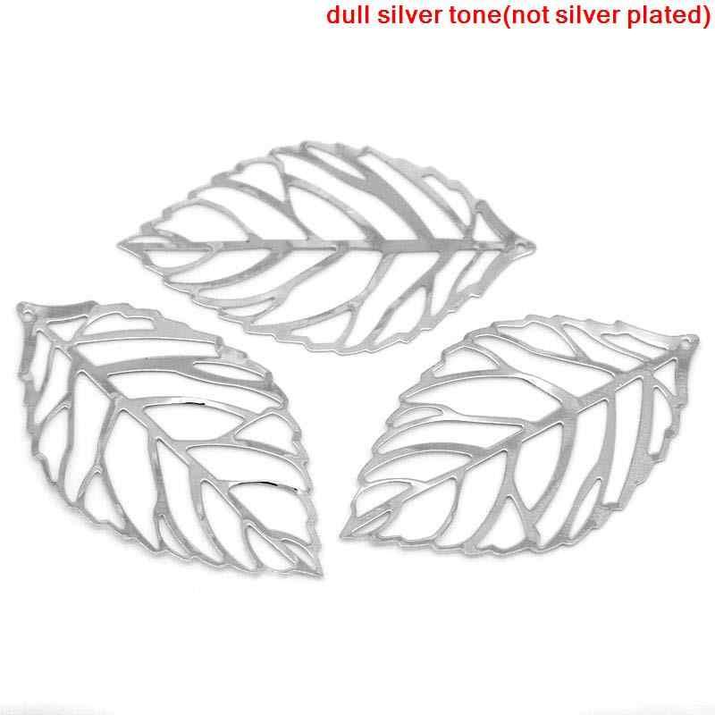 """โลหะผสม Charm จี้ Leaf Silver TONE 5.4 ซม.(2 1/8 """") x 3.1 ซม.(1 2/8 """"),9 PCs ใหม่"""