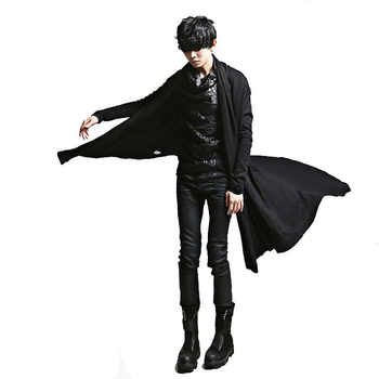 2018 New Fashion Irregular Black Trench Gown Hip Hop Mantle Cardigan Outerwear Personalized Novelty Long Cape Cloak Costumes