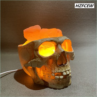 New Hot selling European and American Style Skull Pakiatan Himalayan Crystal Salt Lamp USB Dimmable Night Light