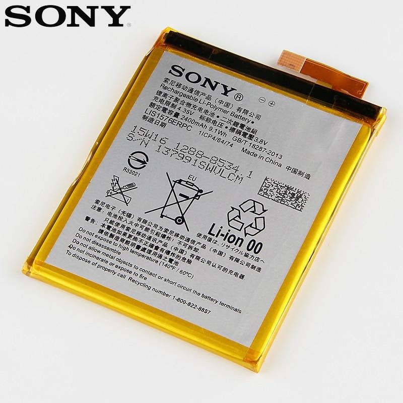 De Remplacement d'origine Sony Batterie LIS1576ERPC Pour SONY Xperia M4 Aqua E2333 E2353 E2303 Véritable Téléphone Batterie 2400 mAh