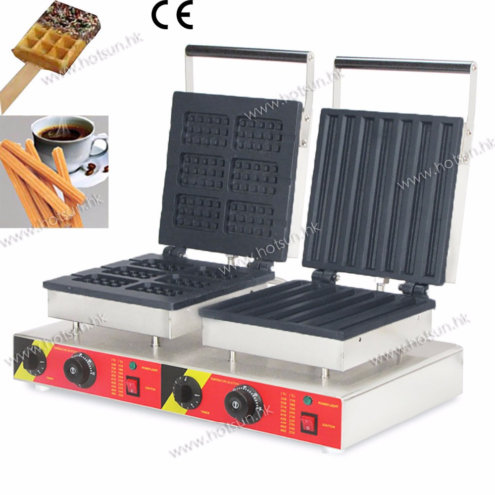 Free Shipping 110V 220V Dual Non-stick Electric Churros Machine + Lolly Waffle Stick Maker Iron Baker Machine