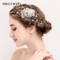 Mecresh Romantic Flowers Simulated Pearl Wedding Hair Accessories Crystal Bridal Hair Barrettes Cloth Hairwear Jewelry MFS164