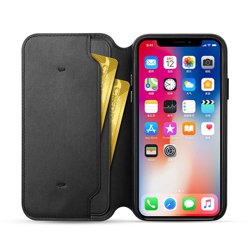 High quality Leather Folio Protective Flip Wallet Cover Case For iPhone X XS Max XR 6 S 7 8 Plus cover Capa With Retail Box in Flip Cases from Cellphones Telecommunications
