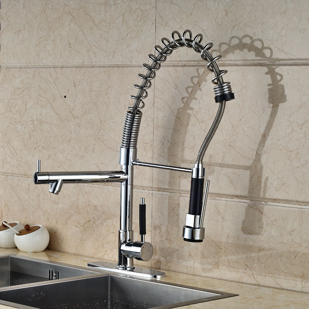 Tall Chrome Kitchen Faucet Swivel Spouts Vessel Sink Mixer Tap Deck Mount