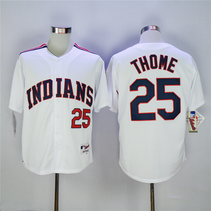 MLB Mens Cleveland Indians Jim Thome Jersey #24 Manny Ramirez 1976 Throwback White Blue Embroidery Baseball Jerseys