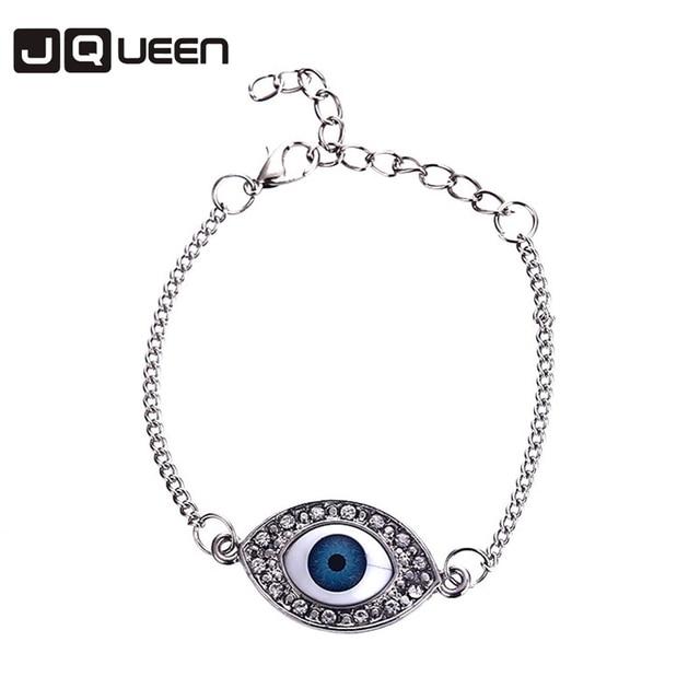 Hot Vintage Blue Turkey Evil Eye Bracelet Round S Charm Bracelets For Women Silver Plated Link