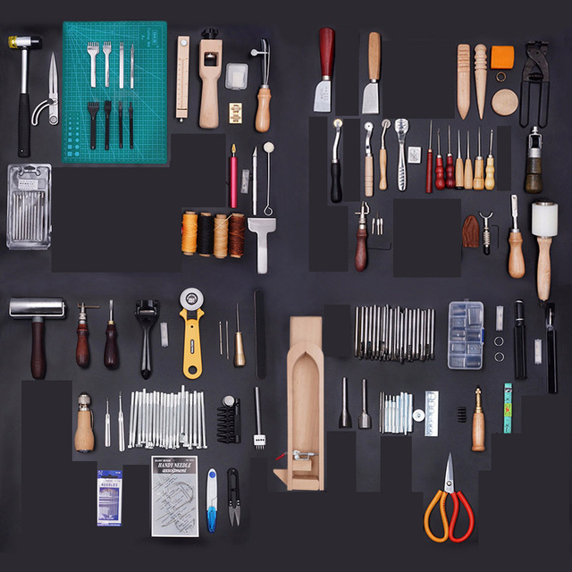 Brand Leather Craft Tool DIY Hand Sewing Kit Stitching Tools Groover Awl Edge Leathercraft Waxed Thread for Leather Hobbyists