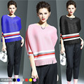 2016 New European American women's fashion Tassel bat sleeve striped crimp T-shirt  OL office shirt Female Elegant fold tops