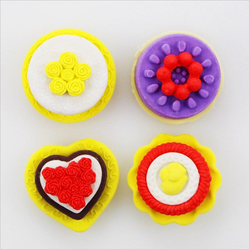 4 Pcs/set Food Cake Modeling Mini Eraser  Grape Eraser Creative Kawaii Stationery School Supplies Gift For Kids