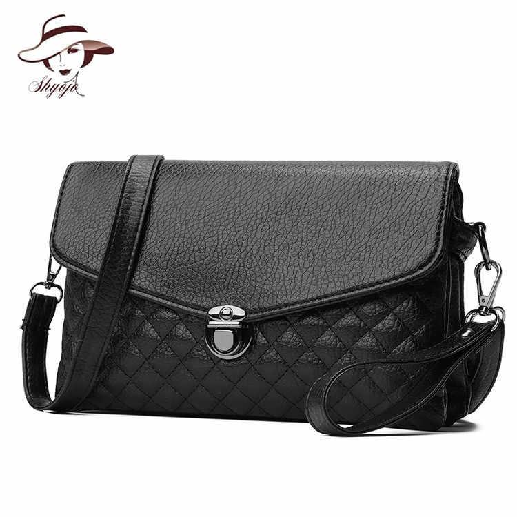 New Luxury Thương Hiệu Nổi Tiếng Đen Ly Hợp Messenger Bag Nữ Nhỏ Đơn Giản PU Leather Giải Trí Ví Vuông Phụ Nữ Crossbody Túi Xách