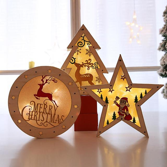 Christmas Decoration Luminous Glowing Wooden Five Pointed Star