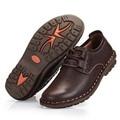2016 Новых Людей Высокого Качества Вскользь Кожаные Ботинки Мужские Деловые Классические Круглым Носком Письмо Оксфорды Плоские Мокасины Натуральная Кожа Обуви