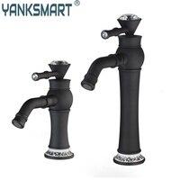 Oil Rubbed Black Bronze Kitchen Single Diamond Handle Swivel Wash Basin Sink Vessel Vanity Torneira Faucet Mixer Tap