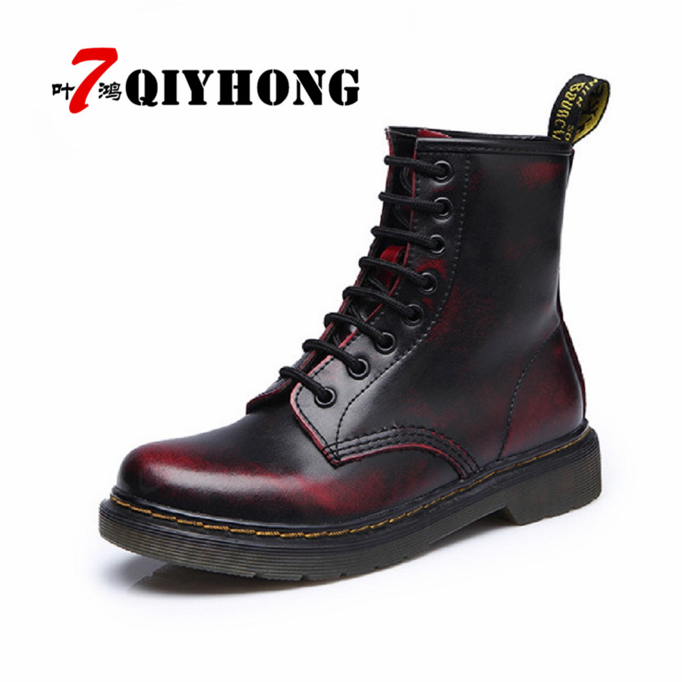 Women Ankle Boots Shoes Woman 2018 Spring Fall Genuine Leather Lace Up Land Shoes Punk White Black Plus Size 35-44 zapatos mujer
