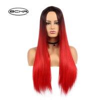 BCHR Długi Tanie Czarne Korzenie Włosów Two Tone Ombre Czerwone Peruki Naturalne Silky Prosto Syntetyczna Peruka dla Afroamerykanów Kobiet