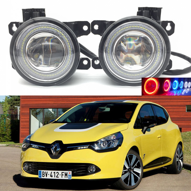 For Renault Clio 2012-2016 2-in-1 LED 3 Colors Angel Eyes DRL Daytime Running Lights Cut-Line Lens Fog Lights Car Styling car styling 2 in 1 led angel eyes drl daytime running lights cut line lens fog lamp for land rover freelander lr2 2007 2014