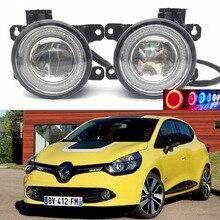 Для Renault Clio 2012-2016 2-в-1 светодиод 3 цвета Ангельские глазки DRL Габаритные огни-линия объектив туман фары автомобиля укладки