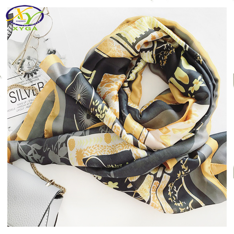 1PC 2017 New Arrival Europe Style Silk Satin With Pendant Women Thin Scarf Summer Woman/Man Fashion Long Shawls(China (Mainland))