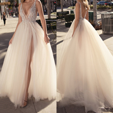 Charming 2019 Tulle Evening Gowns Backless V Neck High Split Sexy Prom Party Custom Made Special Occasion Dresses Cheap